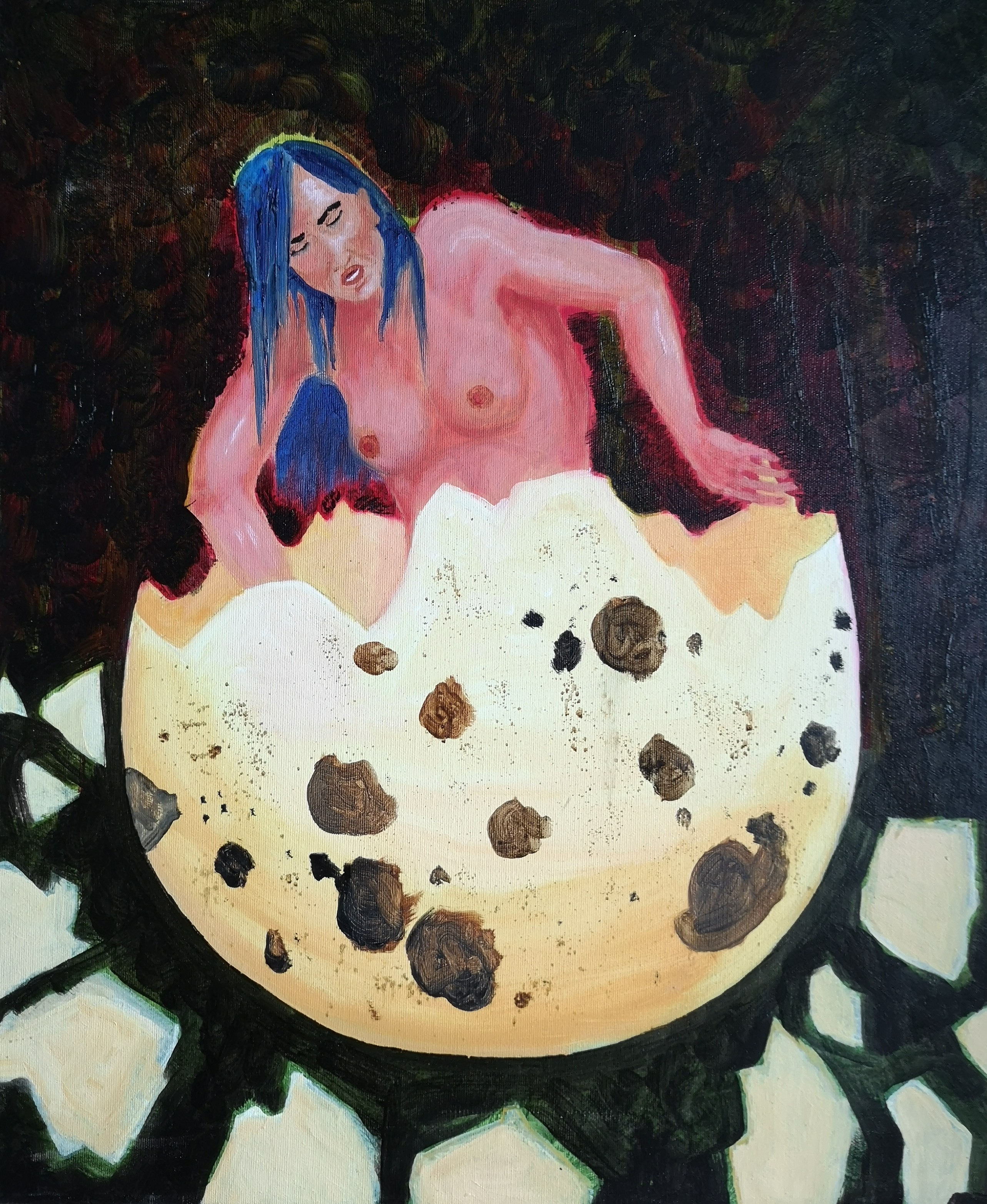 oil-painting egg woman