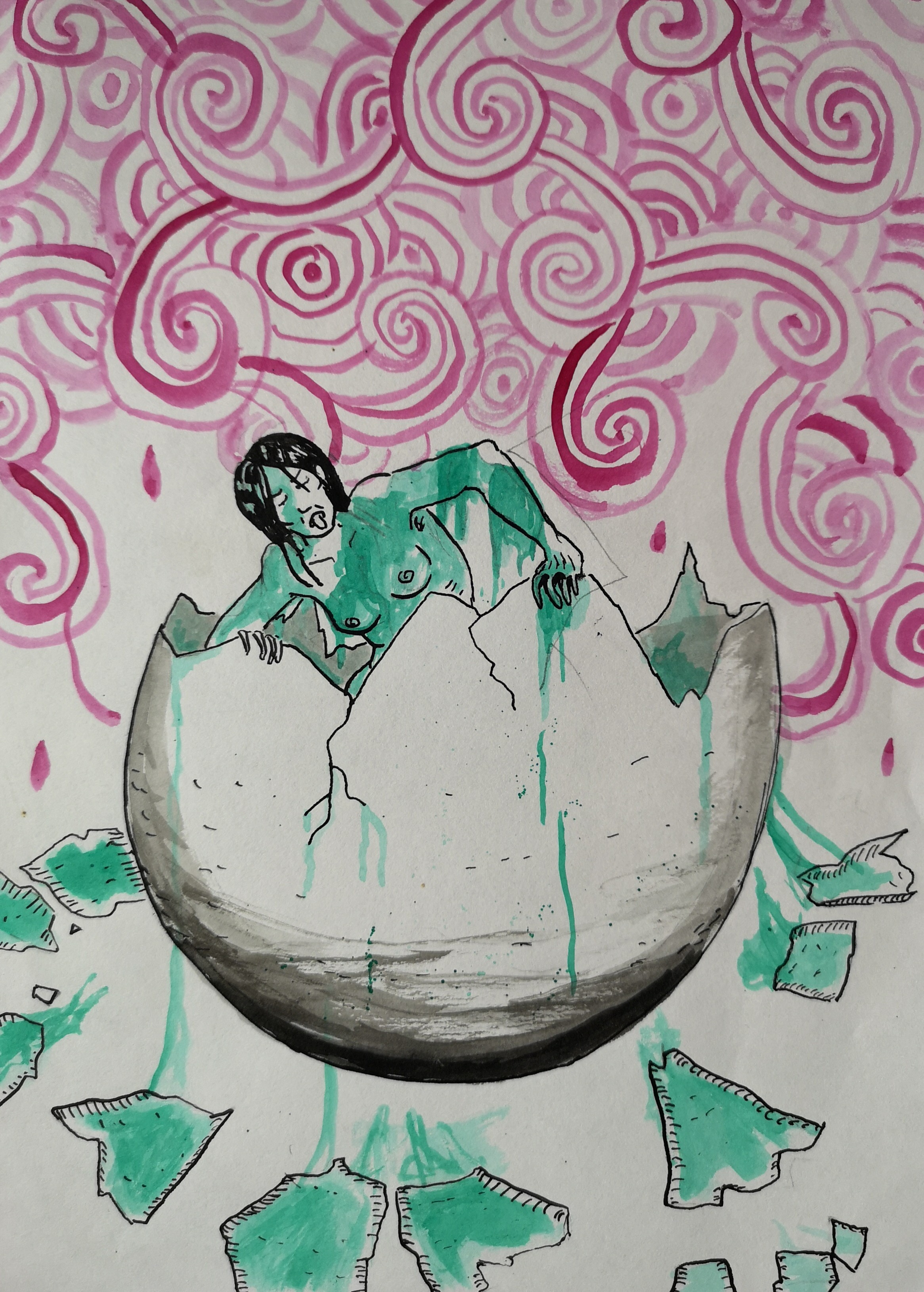 drawing ink egg woman