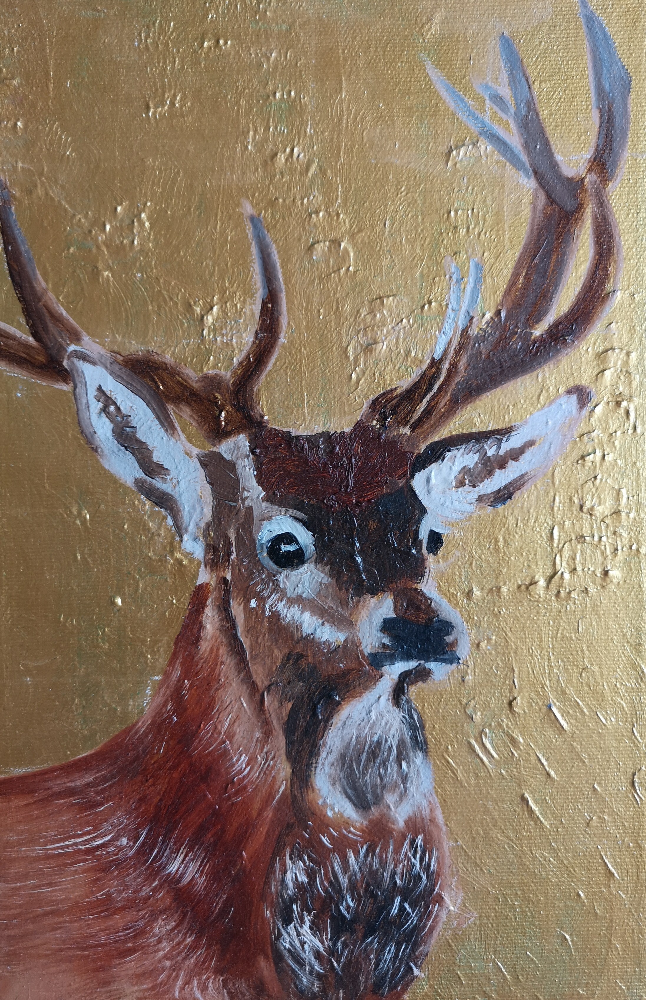 stag christmas oil-painting acrylic background