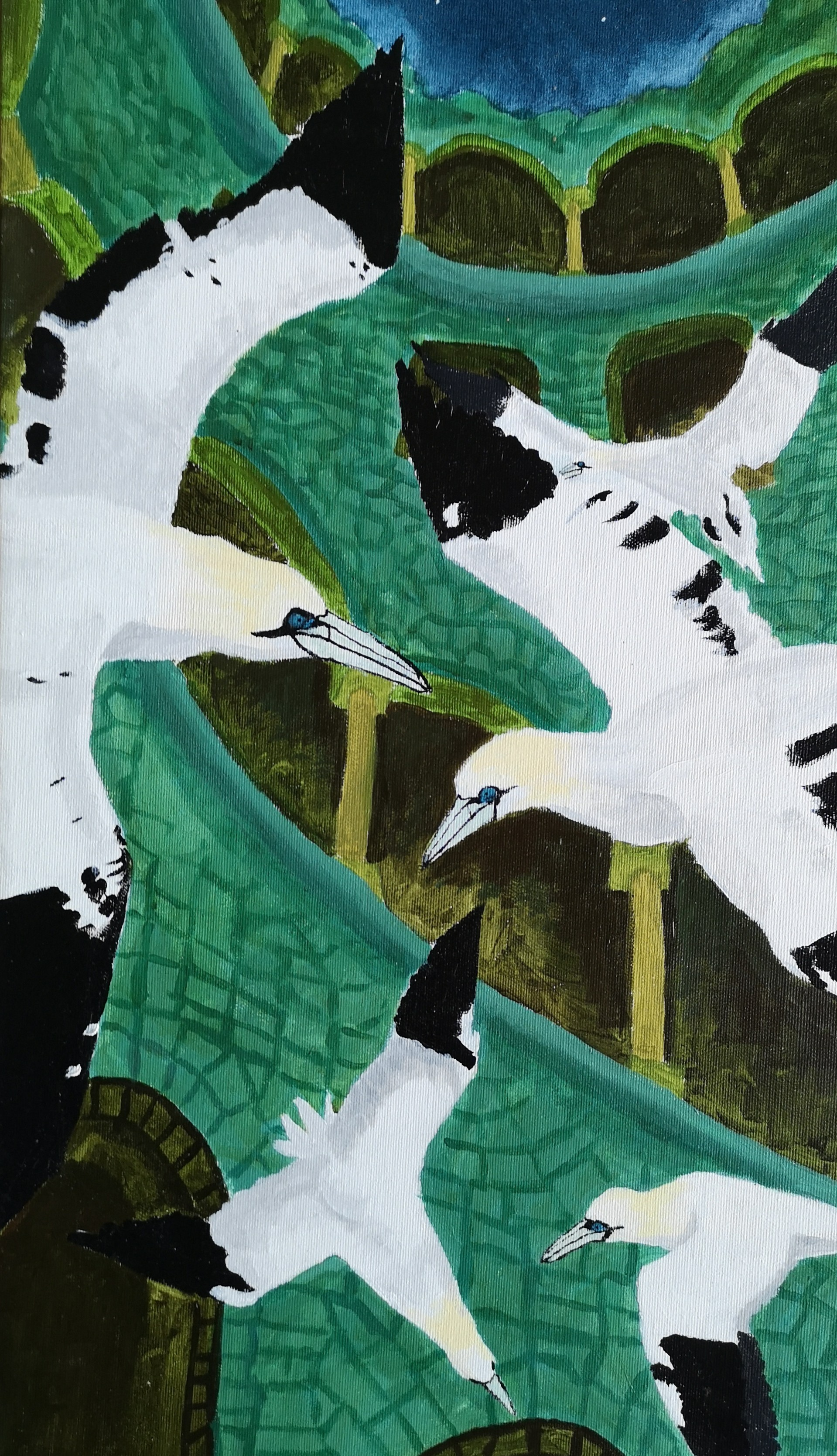 initiation well northern gannet acrylic painting
