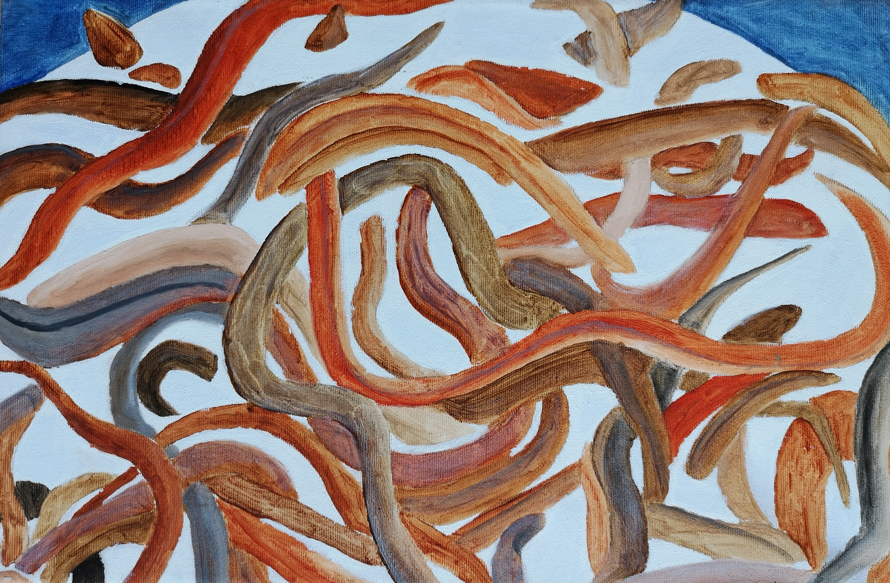 eels in milk oil-painting